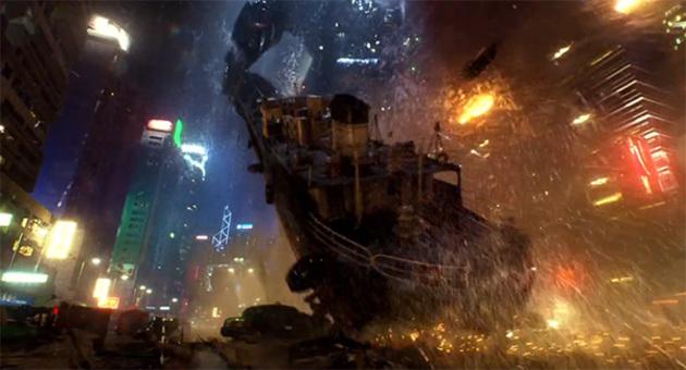 W centrum miasta wielki robot napierdziela wielkiego potwora statkiem towarowym. Czy może być coś lepszego?? :)