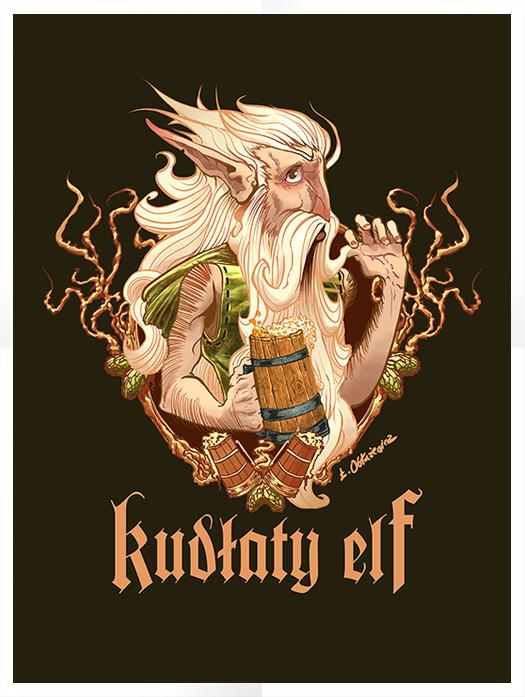 Główny motyw pierwszego piwa Kudłaty Elf, który pojawi się na koszulce.